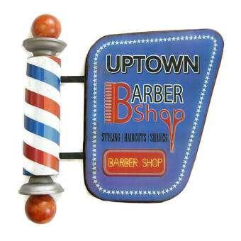 ป้ายสังกะสี 3 มิติ Uptown Barber Shop (ปั๊มนูน)