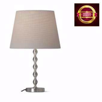โคมไฟตั้งโต๊ะ โป๊ะโคมสีเทา ฐานโคมชุบนิกเกิล สูง 34 ซม.