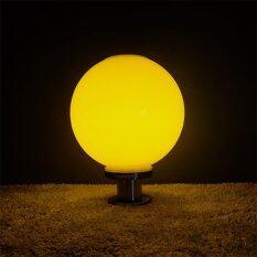 โปรโมชั่น โคมไฟหัวเสาทรงกลม 35 ซม ฐานสแตนเลส แสงสีเหลืองวอมไวท์ ถูก