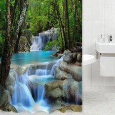 3D Waterfalls Nature Scenery Shower Curtain Water Resistant Polyester Bathroom Gadget Intl ใหม่ล่าสุด