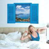 3D Windows Beach สติ๊กเกอร์ติดผนังรูปลอกวอลล์เปเปอร์ Pvc จิตรกรรมฝาผนังตกแต่งบ้านศิลปะบ้านกระดาษวอลเปเปอร์รูปภาพสำหรับเด็กโต ใหม่ล่าสุด