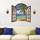 ราคา 3D Windows Beach สติ๊กเกอร์ติดผนังรูปลอกวอลล์เปเปอร์ Pvc จิตรกรรมฝาผนังตกแต่งบ้านศิลปะบ้านกระดาษวอลเปเปอร์รูปภาพสำหรับเด็กโต ใหม่