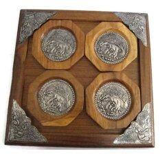 ราคา ชุด จานรองแก้ว ทำจากไม้สัก 4 ชิ้น ติดแผ่นเงินแกะสลักรูปช้าง ใหม่ ถูก