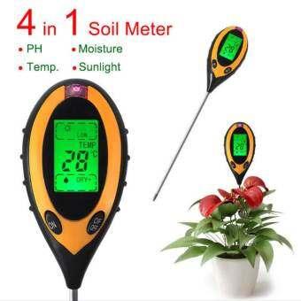 4 in 1 เครื่องวัดความชื่น pH แสง ในดิน พร้อม Backlight LCD-