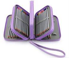 ราคา 4 Layers 72 Slots Pu Leather Pencil Case Art Sketch Drawing Pen Organizer Purple Intl