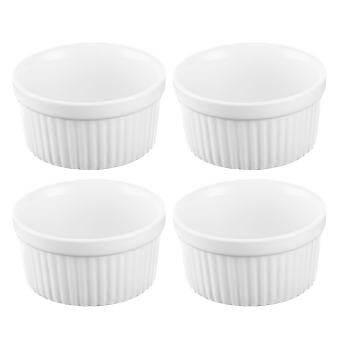 4 ชิ้น 3.5 นิ้วเซรามิค Ramekins Souffle ถ้วยอบขนมสำหรับ Creme Brulee Custard ขนมจานสีขาว - INTL