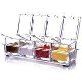 ราคา 4 Pcs Clear Seasoning Box Rack Spice Condiment Pots Storage Container Cruet With Lid Spoon Kitchen Supplies Intl Thinch เป็นต้นฉบับ