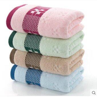 4 ชิ้นชุดผ้าขนหนูผ้าขนหนูดูดซับนุ่มสบายขนาด 33x72 เซนติเมตร สีชมพู + เขียว + น้ำตาล + น้ำเงิน-นานาชาติ