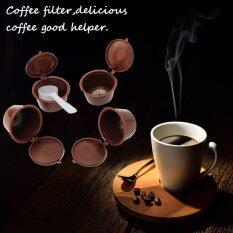 ขาย ซื้อ 4 Reusable Coffee Filter ถ้วยกาแฟเนสท์เล่ 4 ใน 1 กรองแคปซูลกรองถาวรถ้วยกับ 1 ช้อน แองโกลา