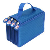 ทบทวน 4 Tier 72 Slot Portable Oxford Cloth Art Paint Writing Pencil Pen Ruler Eraser Zipper Storage Holder Organizer Bag Pouch Case Blue