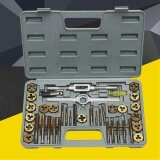 ราคา 40 Pc Titanium Coated Sae Tap And Die Set Standard Heavy Duty M3 M12 Hard Case Intl ใหม่