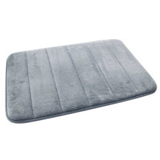 ซื้อ 40 X 60Cm Memory Foam Coral Fleece Fabric Non Slip Safety Home Bathroom Toilet Carpet Floor Mat Pad Random Stripe Pattern Grey ถูก จีน