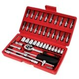 ส่วนลด 46Pcs 1 4 Inch Socket Set Ratchet Torque Wrench Car Repair Tool Set Intl