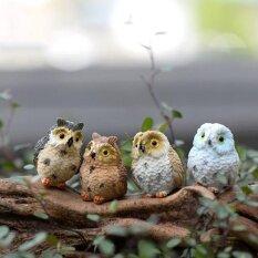 4 ชิ้น Miniature นกฮูก Garden Craft Terrarium Diy ภูมิทัศน์ตกแต่งห้องบ้าน - Intl.