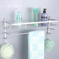 โปรโมชั่น 50Cm Bathroom Kitchen Wall Mounted Space Aluminum Storage Rack With Towel Bar Hooks จีน