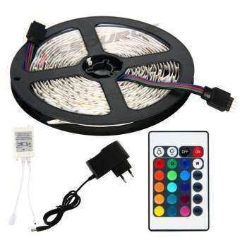 ไฟเส้น ไฟแถบ 5m 3528 RGB 60/M LED Strap Lights + 12V 2A Power supply + รีโมทคอนโทรล 24key IR  EU Plu-