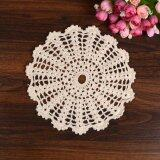 ส่วนลด 5Pcs 22Cm Crochet Round Lace Doily Table Placemat Beige Doilies Coaster Cup Mat X ใน จีน