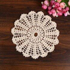 ซื้อ 5Pcs 22Cm Crochet Round Lace Doily Table Placemat Beige Doilies Coaster Cup Mat ใหม่ล่าสุด