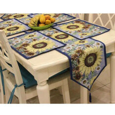 ซื้อ 5Pcs Set Sunflowers Pattern European Table Runners 1Pcs Placemat 4Pcs Home Decor Washable Table Flag For Wedding Tea Table Tv Ark Intl ถูก จีน
