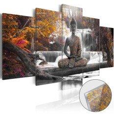 5x พระพุทธรูปภูมิทัศน์ภาพวาดผ้าใบพิมพ์ภาพผนังศิลปะตกแต่งบ้าน  สีเหลือง Unframe - นานาชาติ.