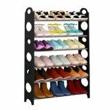 ซื้อ รองเท้าตะแกรงยืนปรับได้ 6 ชั้นที่จัดเก็บชั้นวางรองเท้าจัดงานประหยัดพื้นที่สีดำ