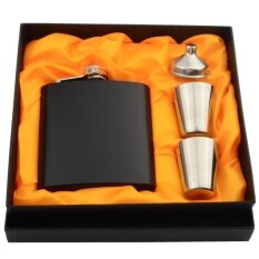 6 Ounces Matte Stainless Steel Pocket Flask Set With Funnel 2 Cups Gift Box Intl ใน จีน