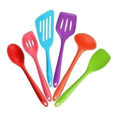 ขาย ซื้อ 6 Piece Silicone Cooking Set 2 Spoons 2 Turners 1 Spoonula Spatula 1 Ladle Heat Resistant Kitchen Utensils Multicolor Intl จีน