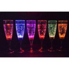 ซื้อ 6 Set Led Light Wine Flute Light Up Liquid Activated Champagne Glasses For Wedding New Yearparty Flute Multicolor ใน จีน