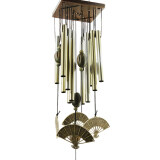 ซื้อ 60Cm Fan Shaped With 12 Tubes Bronze Alloy Wood Wind Chimes Windchimes Outdoor Garden Decoration Yard Decor ออนไลน์