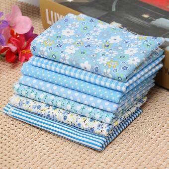 7 ชิ้นดอกไม้ผ้าฝ้าย 100% Pre - Cut ผ้าธรรมดาฤดูร้อนผ้าห่มบาง Multi - สี Blue - INTL