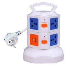 โปรโมชั่น 7Way Outlet Socket Extension Lead Surge Protected Adaptor Power Strip With 2 Usb Port Charger (European Plug)