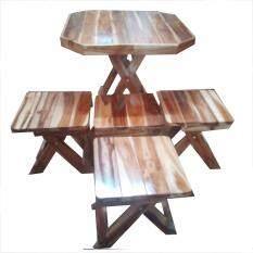 ขาย ซื้อ ชุดโต๊ะสนามไม้สักพับเก็บได้ ชุด เล็ก หน้าโต๊ะ 8 เหลี่ยมพร้อมเก้าอี้ 4 ตัว