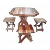 ราคา โต๊ะไม้สักพับเก็บได้ ชุด เล็ก หน้าโต๊ะ 8 เหลี่ยมพร้อมเก้าอี้ 4 ตัว ที่สุด