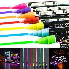โปรโมชั่น 8 Colours Dual Nib 6Mm Neon Liquid Chalk Pen Marker Blackboard Glass Window Menu Wet Wipe Erase Mix Colours ใน Thailand
