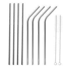 ซื้อ 8 Pcs Straight Bent Stainless Steel Reusable Long Drinking Straw For 30 Oz Yeti Tumbler Rambler Cup With 2 Cleaning Brush Intl Vococal
