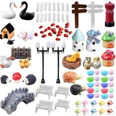 ราคา 80Pcs Mini Miniature Ornaments Kit Set Toys Micro Landscape Accessories For Kids Child Adults Diy Fairy Garden Plant Pot Dollhouse Home Office Decoration Intl Vococal ใหม่