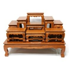ซื้อ โต๊ะหมู่บูชาพระ ไม้สักทอง หมู่ 9 หน้า 4 สีย้อม