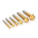 ขาย 90° 3 Flute Titanium Coated Chamfer Chamfering End Mill Cutter Bits Hss 6Pcs Unbranded Generic ใน จีน
