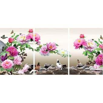 ภาพพิมพ์กรอบลอย รุ่นภาพดอกโบตั๋นสวยพร้อมกรอบ_ft-tb158 ขนาดM 40x60ซ.ม/ชุด3กรอบ
