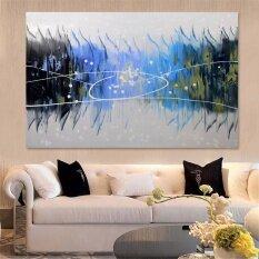 บทคัดย่อศิลปะขนาดใหญ่ภาพวาดสีน้ำมันมือทาสีผ้าใบพิมพ์ผนังตกแต่งบ้านกรอบรูป.
