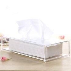 ซื้อ Acrylic Clear Transparent Tissue Box Cover Rectangular Holder Paper Storage Case Intl ถูก จีน