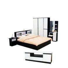 ซื้อ Addhome ชุดห้องนอนเมลามีน ขนาด 6 ฟุต รุ่น New York 6S5 1 Set 5 ชิ้น สีโอ๊คขาว ใหม่ล่าสุด