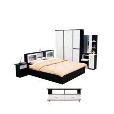 ราคา Addhome ชุดห้องนอนเมลามีน ขนาด 6 ฟุต รุ่น New York 6S5 Set 5 ชิ้น สีโอ๊คขาว ใหม่