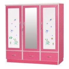 Adhome ตู้เสื้อผ้าเด็ก กระจก 1 บาน ขนาด 120 ซม รุ่น Wc 1204M สีชมพูขาว ใหม่ล่าสุด