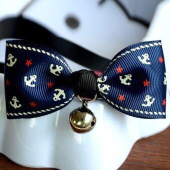 Adjustable Dog Cat Pet Cute Bow Tie With Bell Puppy Kitten Necktie Collar (Dark Blue Anchor)