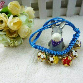 Adjustable Length 18-32CM Dogs Cats Collar with 5 Bells Pet Accessory Blue