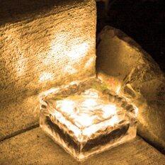 ราคา ไฟก้อนน้ำเเข็ง โซล่าเซลล์ 4 Led แสงเหลืองวอมไวท์ 1 ชิ้น ใหม่