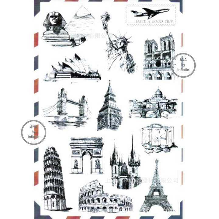 infinite Suitcase Sticker Set สติ๊กเกอร์ ตกแต่ง กระเป๋า เดินทาง สัญลักษณ์ เมือง สถานที่