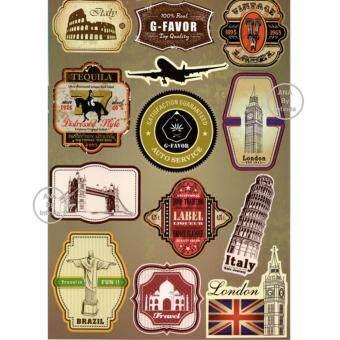 ซื้อที่ไหน infinite Suitcase Vintage Sticker Set สติ๊กเกอร์ ตกแต่ง กระเป๋า เดินทาง สัญลักษณ์ สถานที่สำคัญ เมือง วินเทจ