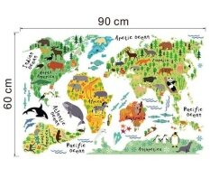 Animal World Map Removable Decal Art Mural Home Decor Wall Stickers Intl Unbranded Generic ถูก ใน จีน